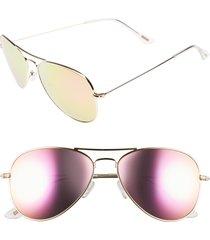 women's diff cruz 57mm metal aviator sunglasses - gold/ pink