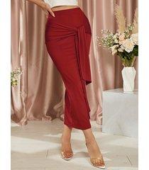 falda larga ajustada de cintura alta con diseño de amarre yoins