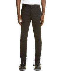 men's moncler embroidered logo stretch cotton jeans, size 48 eu - black