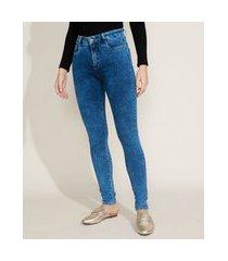 calça jeans feminina sawary skinny compressora cintura alta azul médio