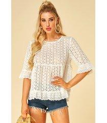 blusa de media manga con cuello redondo y diseño hueco blanco de yoins