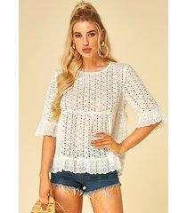 yoins white hollow design round neck half sleeves blouse