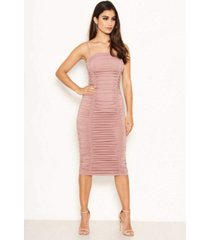 ax paris women's ruched strappy bodycon midi dress