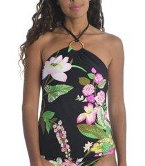 trina turk moonlit lotus halter tankini top women's swimsuit
