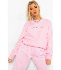 oversized geborduurd woman sweater met tekst, pale pink