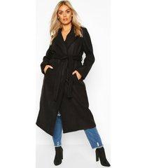 plus oversized self belted long coat, black