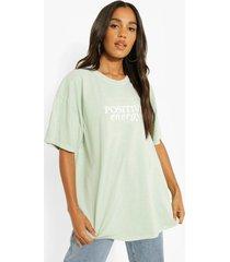 oversized katoenen positive t-shirt, sage