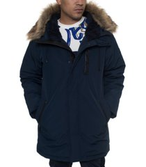 sean john men's faux fur trimmed three-quarter snorkel coat