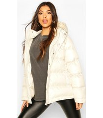 high shine oversized hooded puffer jacket, ivory