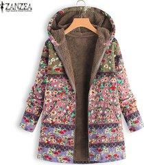 zanzea mujeres invierno cálido zip up sudaderas con capucha abrigo largo chaqueta outwear parka plus-rosado