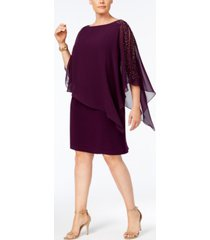 xscape plus size beaded chiffon popover dress
