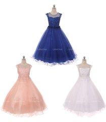 illusion neckline rhinestones embroidery bodice tulle skirt raised floral dress