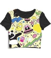 blusa feminina cropped tshirt et alien disco voador panda urso - feminino