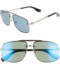 women's the marc jacobs 61mm navigator sunglasses - light gold/ blue green