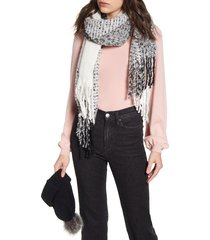 women's bp. faux fur pom beanie & plaid scarf set