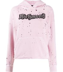 john richmond destroyed hoodie - pink