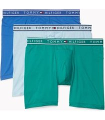 tommy hilfiger men's eco stretch boxer brief 3pk light blue/green/sky blue - xl
