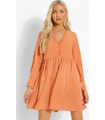 gesmokte jurk met knopen, orange