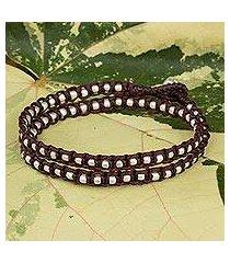 braided wrap bracelet, 'floral moon in burgundy' (thailand)