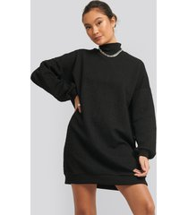 na-kd structured high neck sweat dress - black