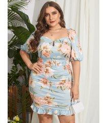 yoins plus talla estampado floral plisado cinturón diseño mini vestido