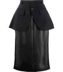 maison margiela peplum straight skirt - blue