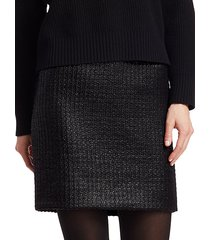 lacquered tweed mini skirt