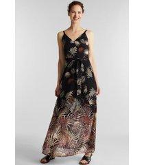 vestido de gasa con estampado reciclado negro esprit