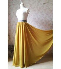 full maxi skirt yellow chiffon skirt floor length chiffon maxi bridesmaid skirts