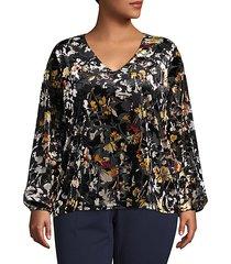 plus floral-print long-sleeve top