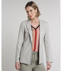 blazer feminino longo em linho com bolsos kaki