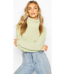 cropped fisherman roll neck sweater, sage