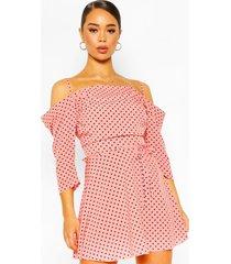 cold shoulder skater dress, coral
