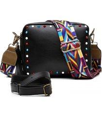 bolsa alice monteiro transversal com metais coloridos e alça colorida preto