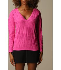 emporio armani sweater emporio armani sweater in viscose blend with embossed logo