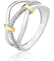 anel de prata c/ filete de ouro e detalhe central em zircã´nia - prata - feminino - dafiti