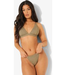 mix & match gekreukeld tanga bikini broekje, light khaki