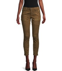 joie women's cheetah-print cropped jeans - lacquer - size 32 (10-12)