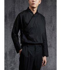 incerun hombres casual llanura con cordones abrigo con personalidad manga larga camisa