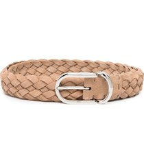 brunello cucinelli braided buckle belt - neutrals