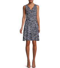 tommy hilfiger women's floral ruched-waist dress - sky captian - size 16