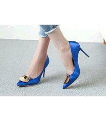 pp413 elegant high-heeled pump w gold plate top, us size 1-9.5 blue