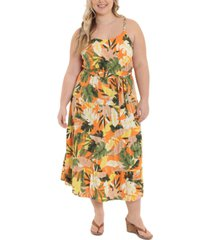 london times plus size braided-straps tiered maxi dress