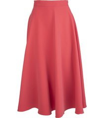 gianluca capannolo coral red flared midi skirt