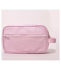 nécessaire feminina texturizada com bolso e alta rosa claro