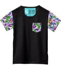 camiseta masculina algodão bolso estampa folha conforto leve - masculino