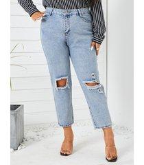 talla grande classic recorte de cinco bolsillos jeans