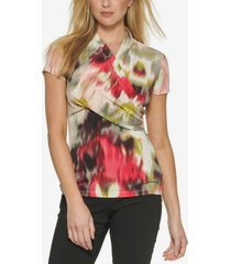 dkny short-sleeve wrapped-neck top