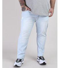 calça jeans masculina plus size slim azul claro