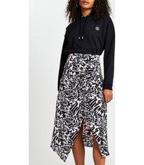 river island womens pink printed asymmetric hem midi skirt